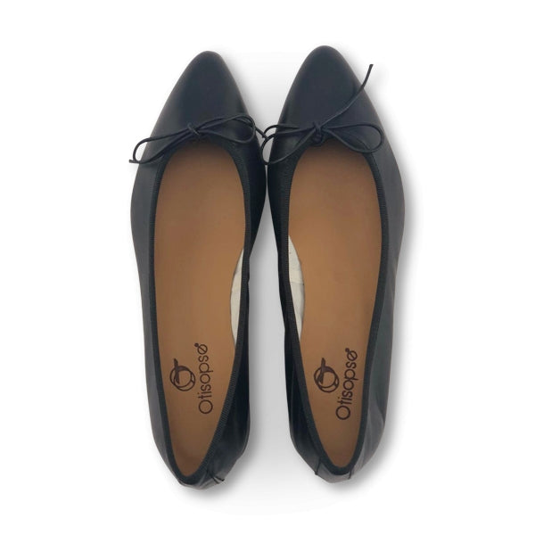 Flat shoes in pelle nero tacco 3cm