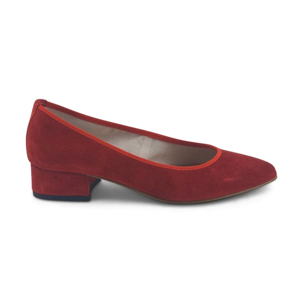 Flat shoes in camoscio rosso tacco 3cm