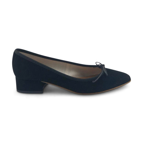 Flat shoes in black chamois heel 3cm