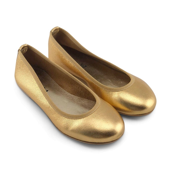 Flat shoes in pelle oro