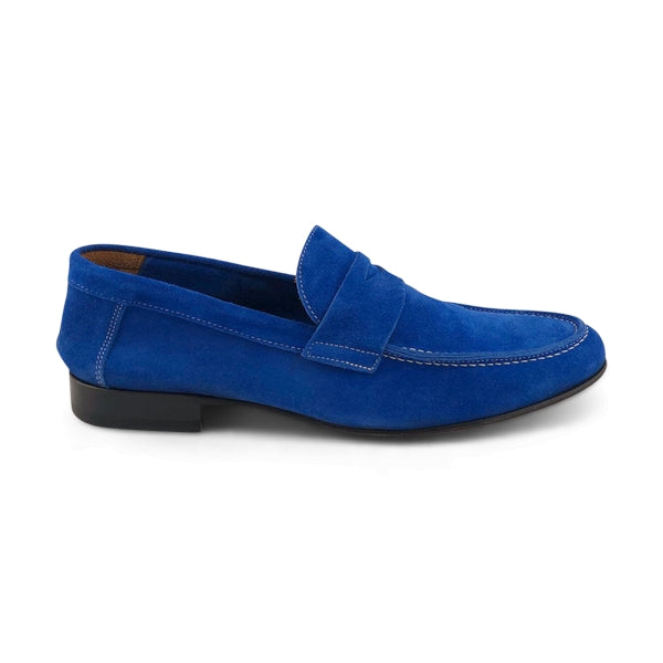 Mocassino in camoscio bluette