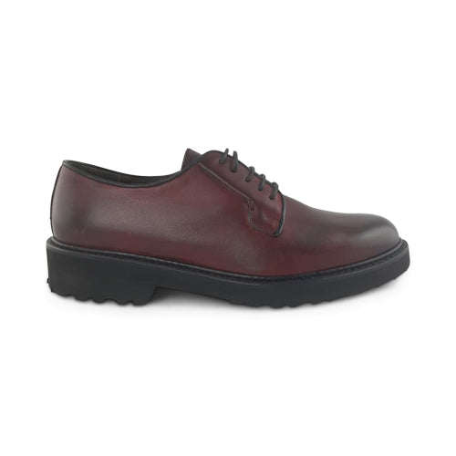 Derby in pelle bordeaux con suola vibram