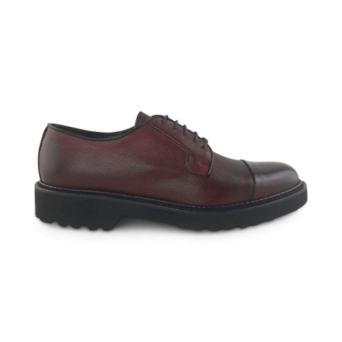 Derby in pelle bordeaux suola vibram