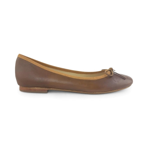 Brandy leather flat shoes