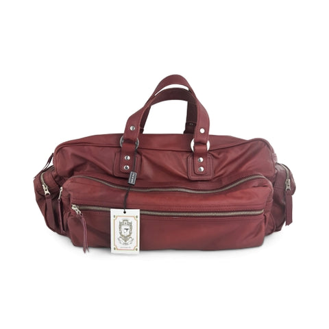Duffle bag in burgundy leather