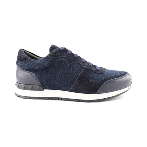Blue suede and wool sneakers