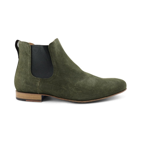 Green suede chelsea boot