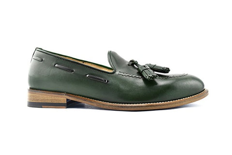 Green leather slipper