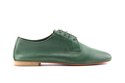 Green leather derby