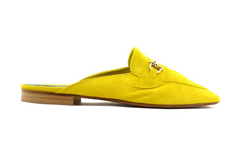 Yellow suede slipper