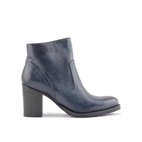 Blue leather ankle boot