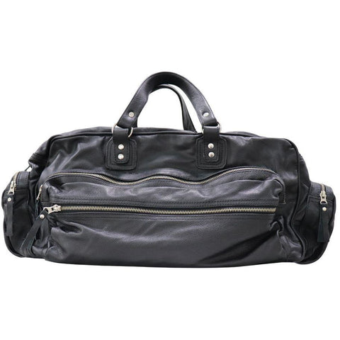 Black bottled leather duffel bag