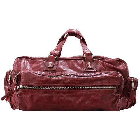 Burgundy leather duffel bag