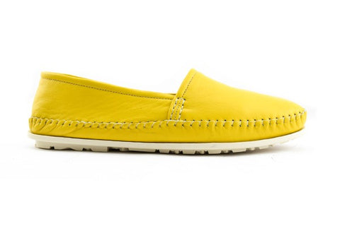 Yellow leather espadrillas