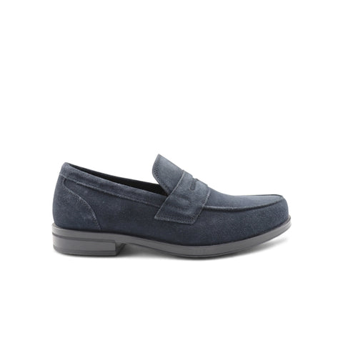 Navy blue suede moccasin