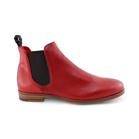 Red leather chelsea boot