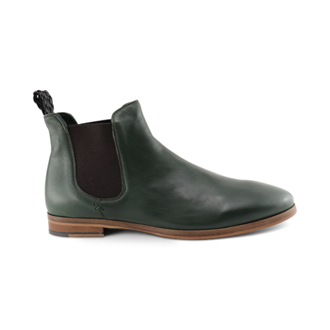 Green leather chelsea boot