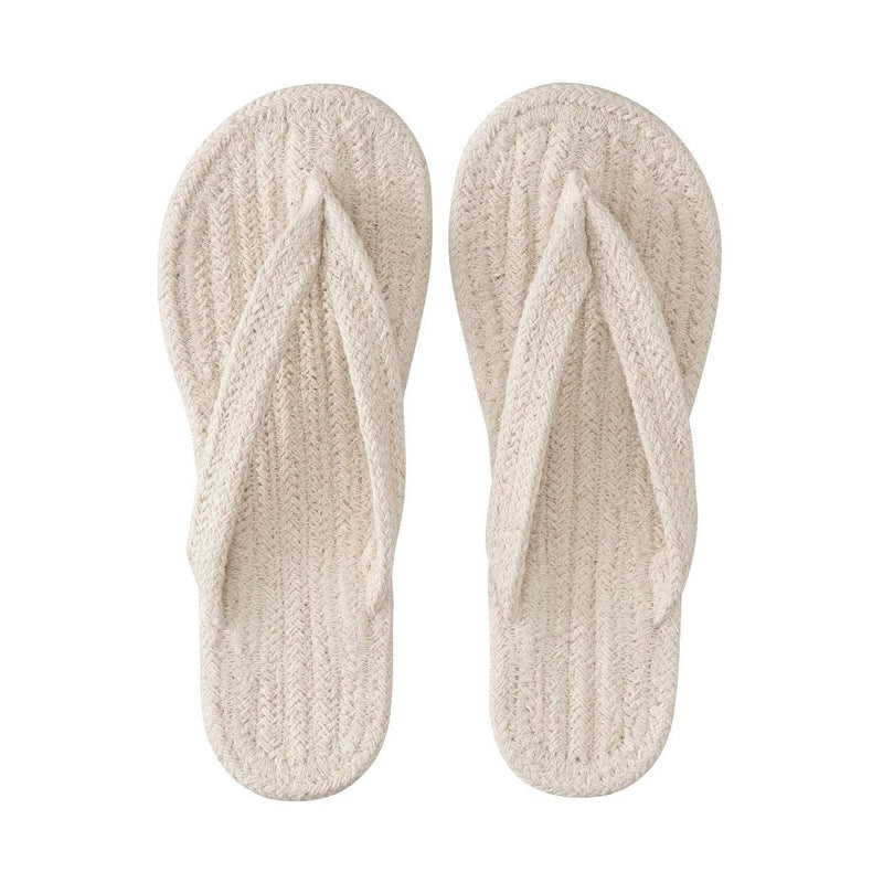 Indian Cotton Room Sandals Thong M Ecru