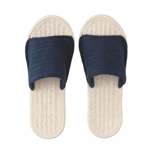 Indian Cotton Room Sandals Open Toe Xl Ecru X Navy