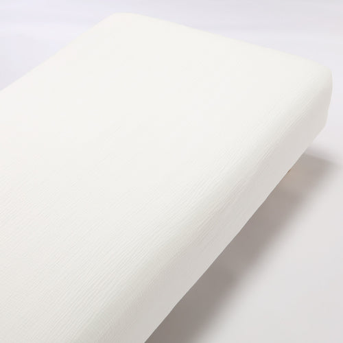 Organic Cotton Triple Gauze Fitted Sheet Queen Off White
