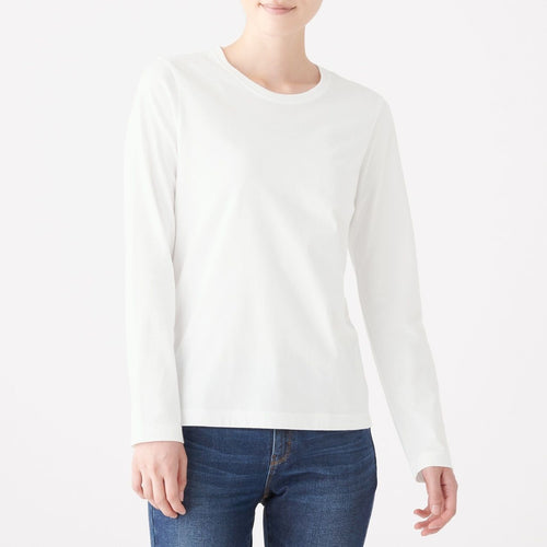 Indian Cotton Crew Neck L/S T-Shirt -White