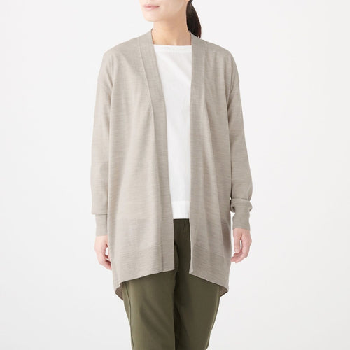 Wool-Silk-Middle-Length-Cardigan