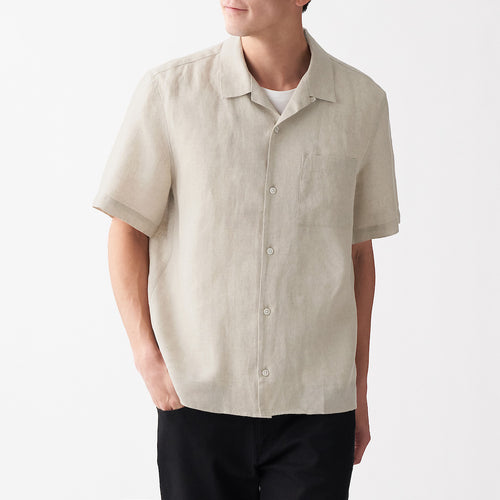 French Linen Washed Open Collar S/S Shirt