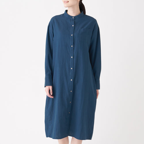 Indian Cotton Indigo Double Gauze Stand Collar Dress