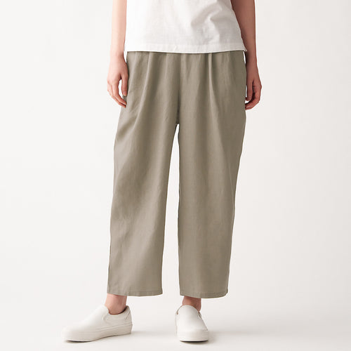 French Linen Tuck Wide Pants