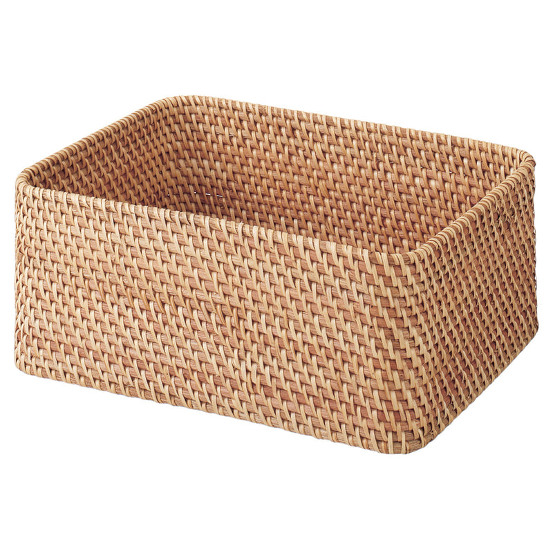 Stackable Rattan Rectangular Basket-Meduim