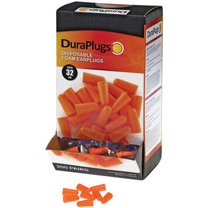 Ear Plugs Durawear Orange Uncorded NRR 32 - 200/Box (Product # 14310)