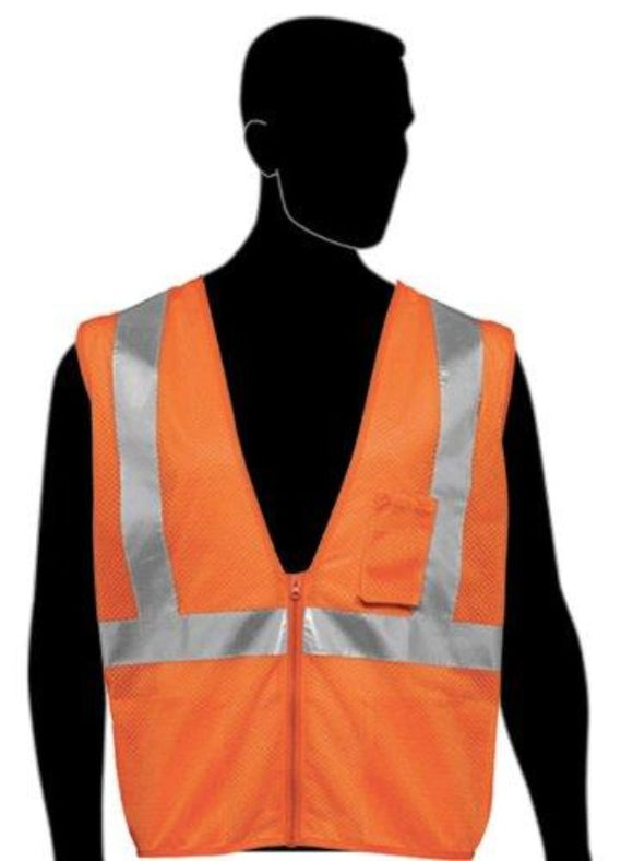 Class 2 Orange Mesh Safety Vest - Silver Hi-Viz strips w/ Pockets (Product # C16003F)