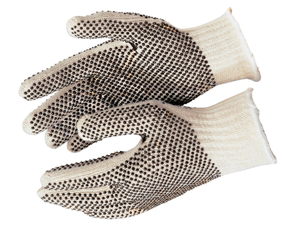 White String Knit Gloves 7 Gauge w/ PVC Dots (product # 9660)