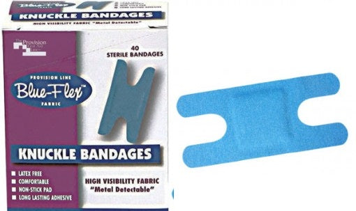 Knuckle Bandage - Metal Detectable BLUE Bandage - 40 per Box (Product # 2905)