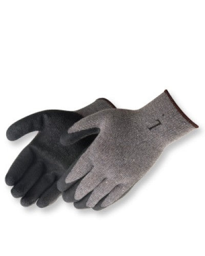 Black Textured Latex Coated Grey Knit Gloves (product #4729SP)