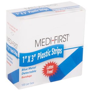 "1"" x 3"" Blue Metal Detectable Plastic Bandage - 100 per Box (Product # 67133)"