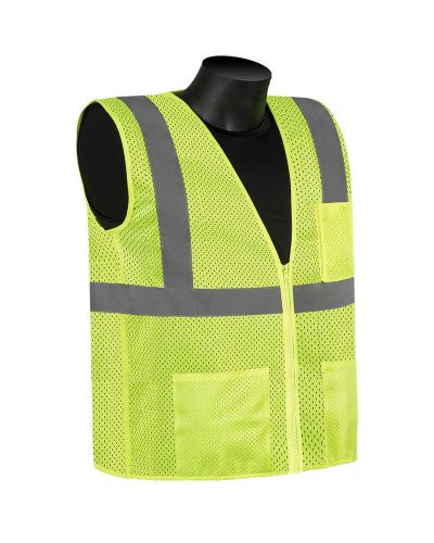 Class 2 Mesh Safety Vest - Silver Hi-Viz strips w/ Pockets (Product # C16003G)