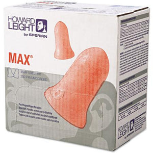 Leight/Max® Bell Shaped Polyurethane Foam Disposable Uncorded Earplugs NRR: 33 dB (Product # Max-1)