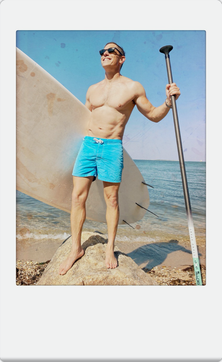 Jonathan Adler with his paddleboard