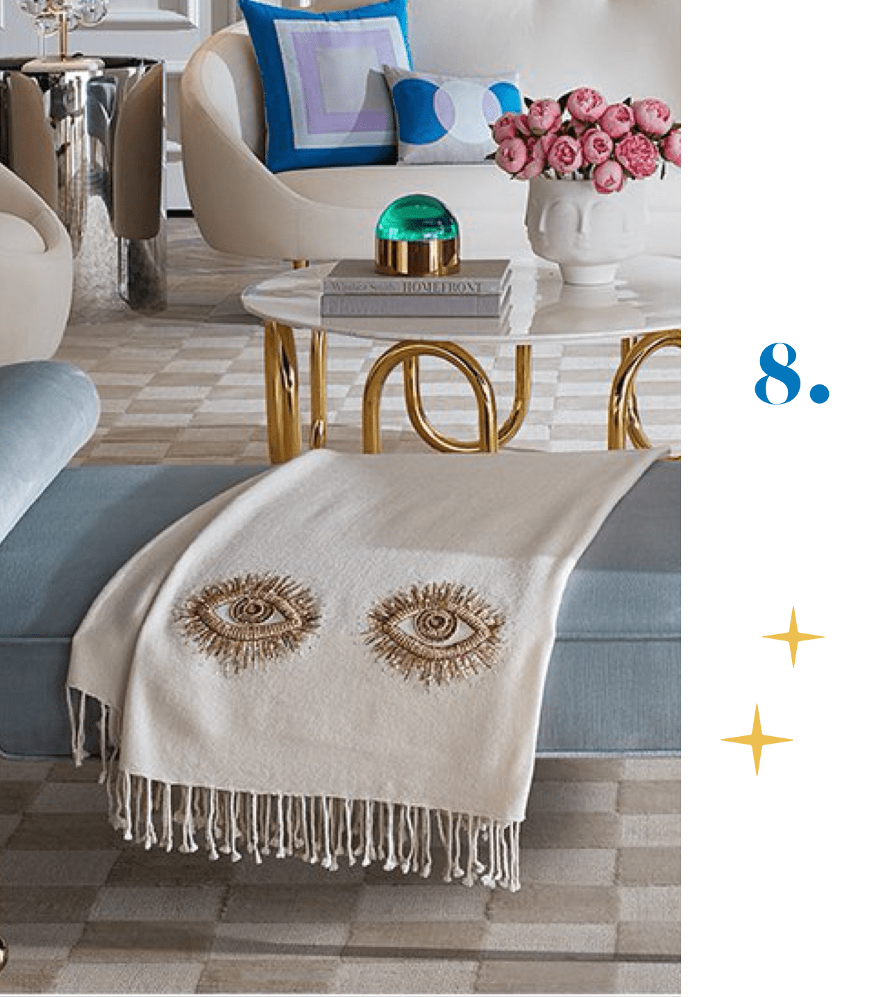 Jonathan Adler Muse Eyes Embellished Throw