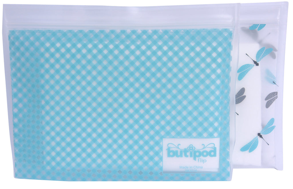 bitty buti-pod flip (2-pack, bitty size, dragonflies & gingham)
