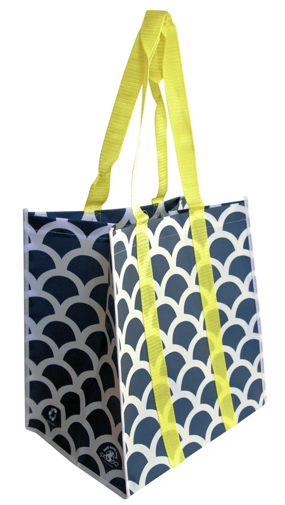 Buti Earth Shopping Bags | Navy Scallops (Yellow Handles)