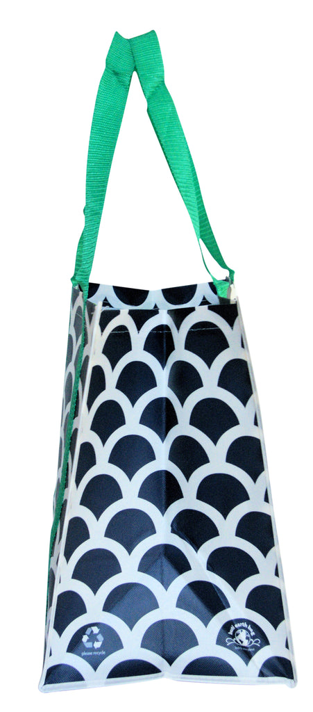 Buti Earth Shopping Bags | Navy Scallops (Green Handles)
