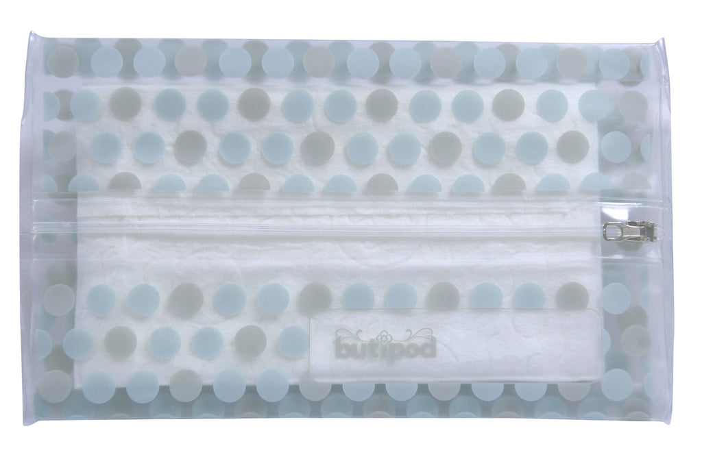 buti-pod zip travel wipes cases | aquamarine blue/grey | 2-pack