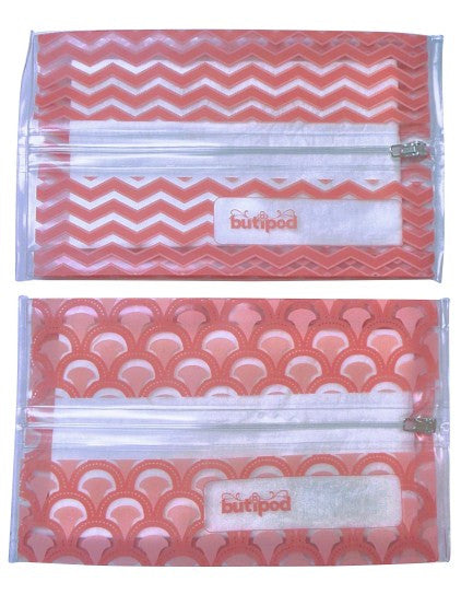 buti-pod zip travel wipes cases | coral | 2-pack