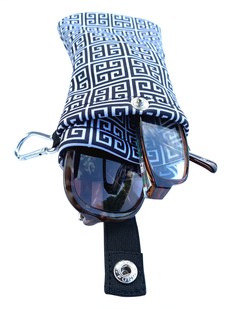 Double Eyeglasses and Sunglasses Pouch, Sporty with Clip