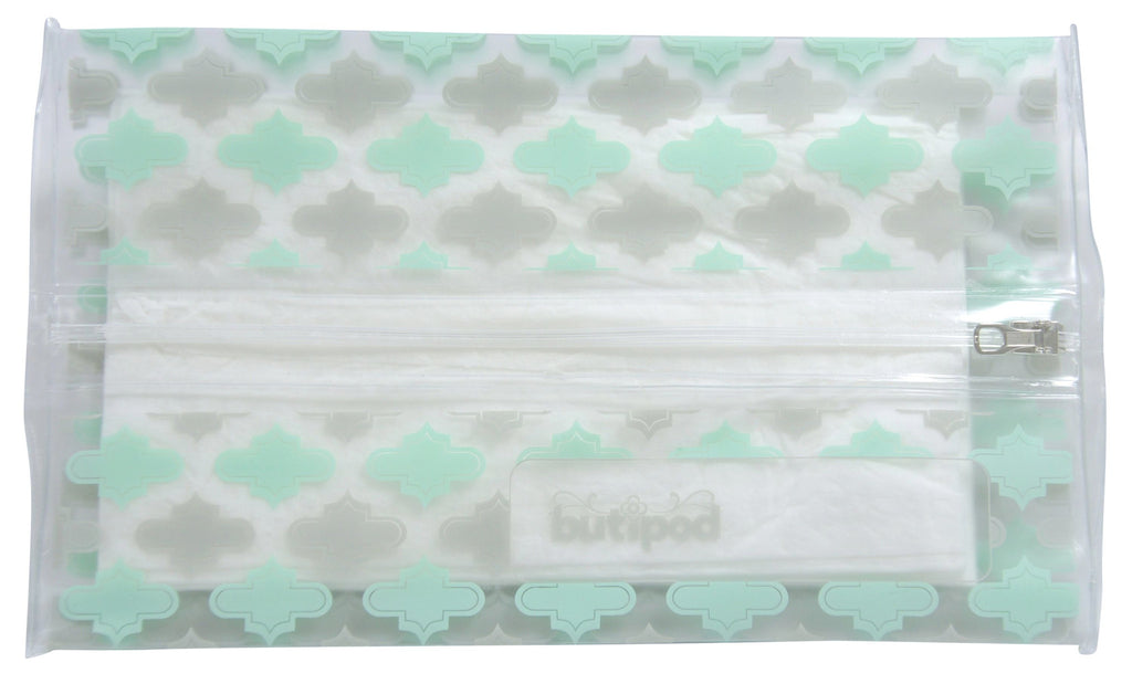 buti-pod zip travel wipes cases | lucite green/grey | 2-pack