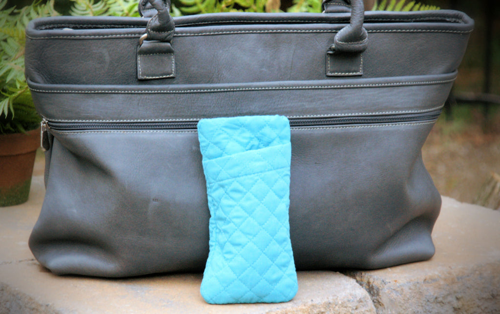 Double Eyeglasses and Sunglasses Pouch, Quilted Cotton