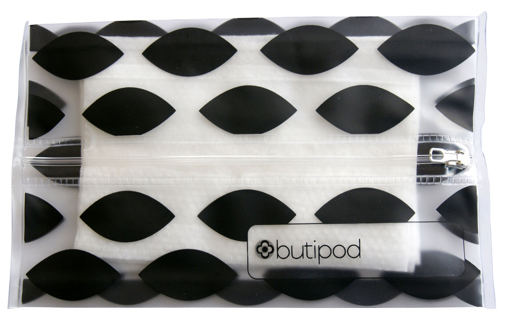 buti-pod zip | black oval & rings | 2-pack