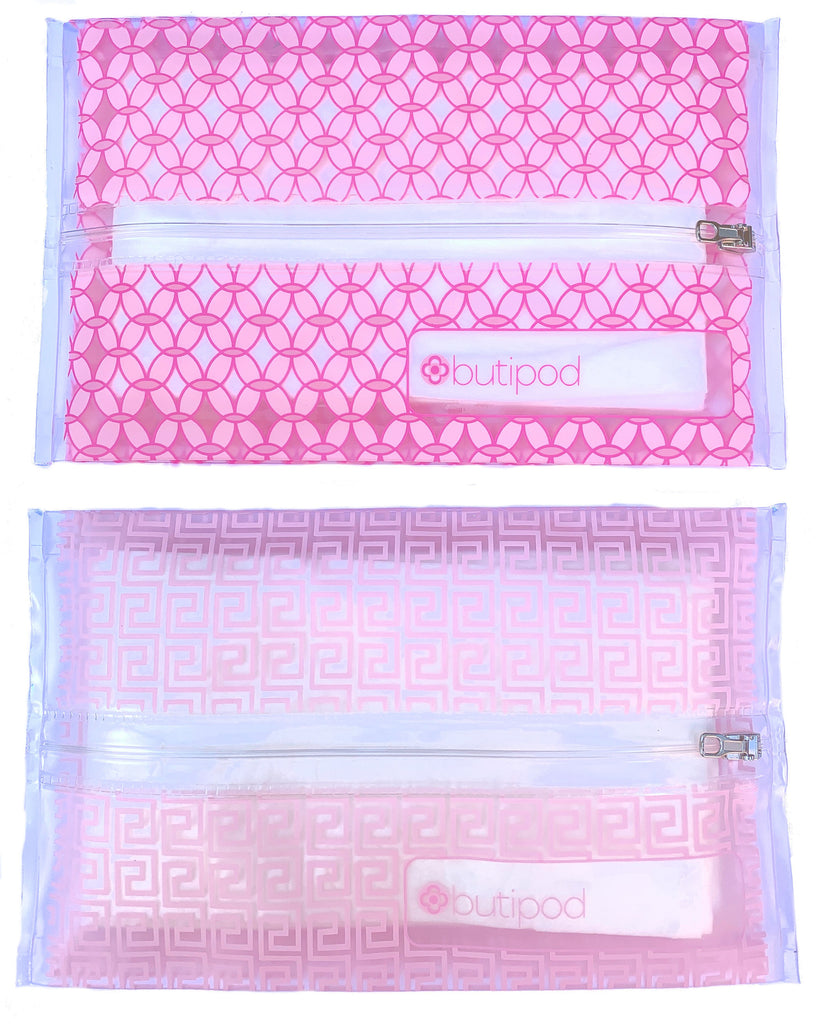 buti-pod zip travel wipes cases | blush pink tiles | 2-pack